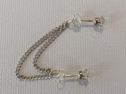 Two CZ earring with chain backdrop
