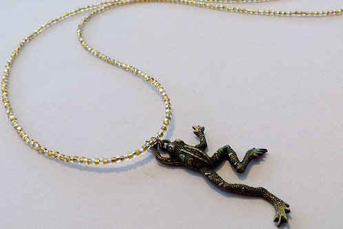 Gold & clear beaded necklace w/frog charm