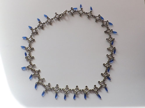 Celtic square & blue rice beads necklace