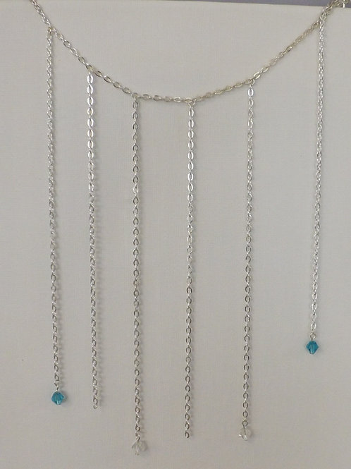 Silver chain necklace with chain bib w/ 2 crystal