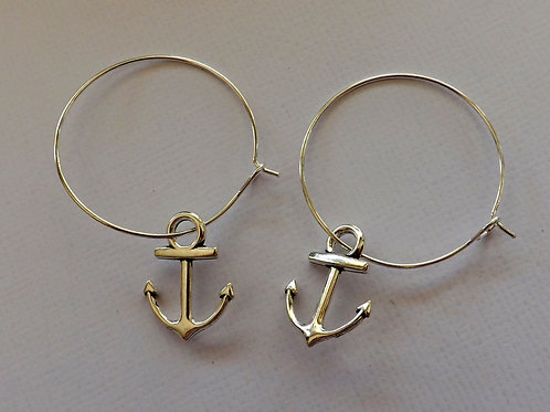 Silver hoop earrings with silver anchor charms