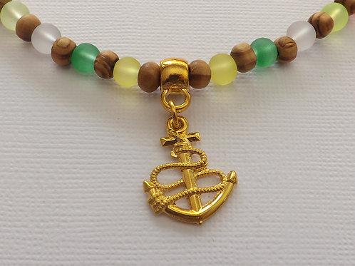 Wood, green, yellow & orange bead necklce w/anchor