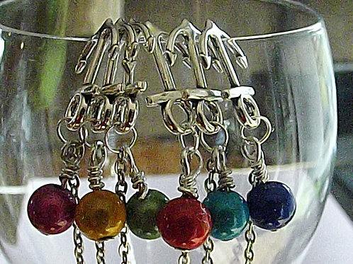 Anchors away chain wine glass charms