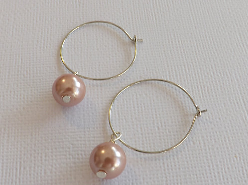 Silver hoop with a 10mm glass pearl drop