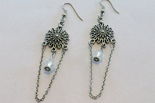 Silver hook earring with silver sun charm & chain