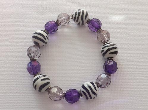 Zebra, purple & grey bead stretch bracelet