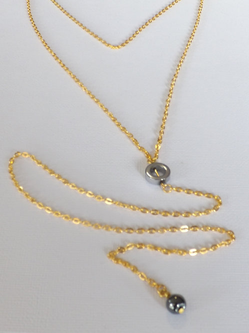 Gold two strand 2 length Y necklace with 2 charms