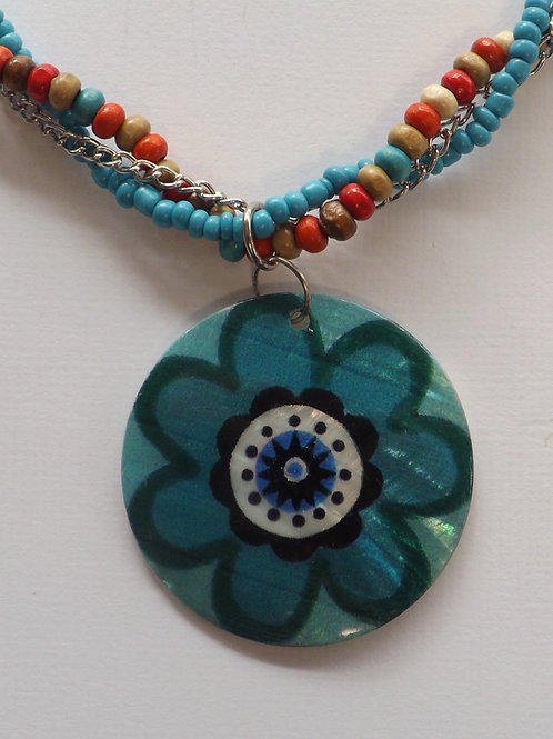 Colorful beaded and chain necklace w/shell charm