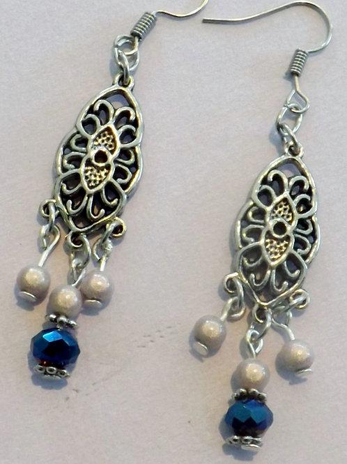 Silver hook  earring w/vintage inspired  charm
