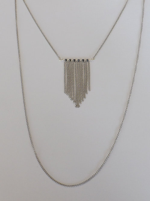 Two strand, two lengths chain necklace w/fringe