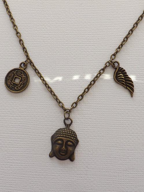 Antique bronze, 3 charm necklace