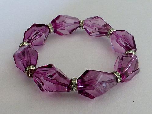 Fuschia acrylic stretch bracelet
