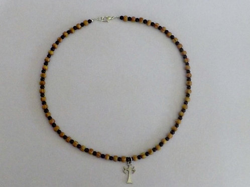 Wood & black bead necklace with cross charm