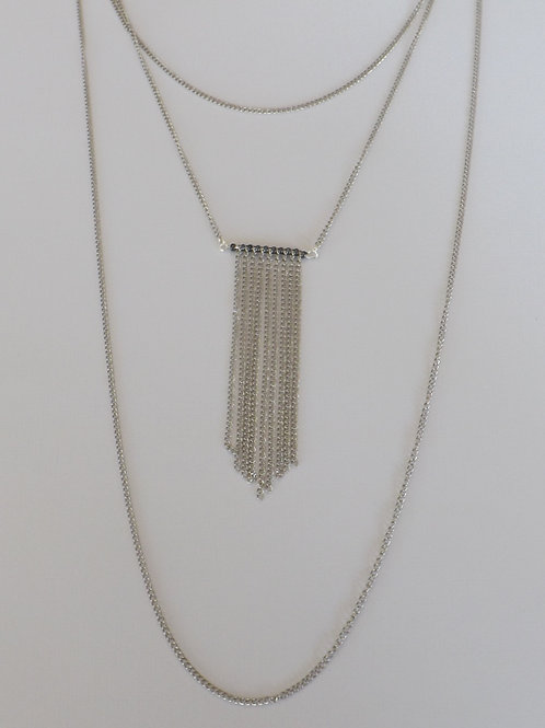 Three strand chain necklace w/fringe charm