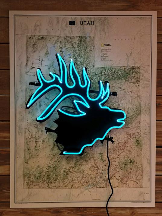 Blue Elk Neon with Utah Map