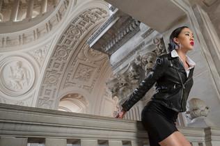 Top: JCrew Leather Jacket: Wam Skirt: Taiwanese Brand Boots: TOP SHOP