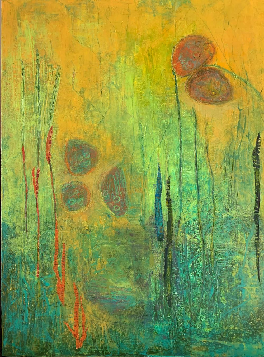 Lotus Pond, Acrylic on cradled panel, 12X16