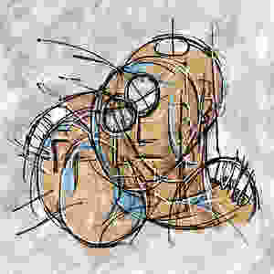 focus group hug  digital art. These abstract beings are being intertwung through a transcendental hug.