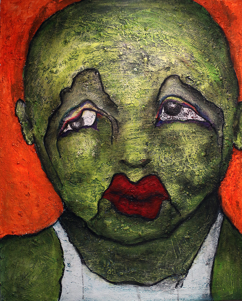 """""""The green boy"""" - Pedro Mainman  """"La galerie pathétique"""" serie. (2018) Acrylic and mixed media on canvas. 81 cm x 100 cm  """"He is the green boy. He is not like the other boys. They hit him and hurt him, push him down the stairs at school. Because he is different, scary, not like one of us""""."""