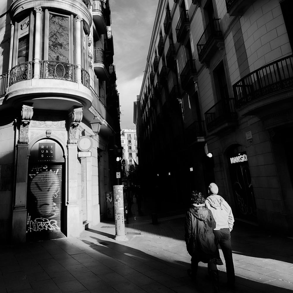 Barcelona Streets  Tourists near La Rambla and Carrer de la Canuda in Barcelona, Spain.
