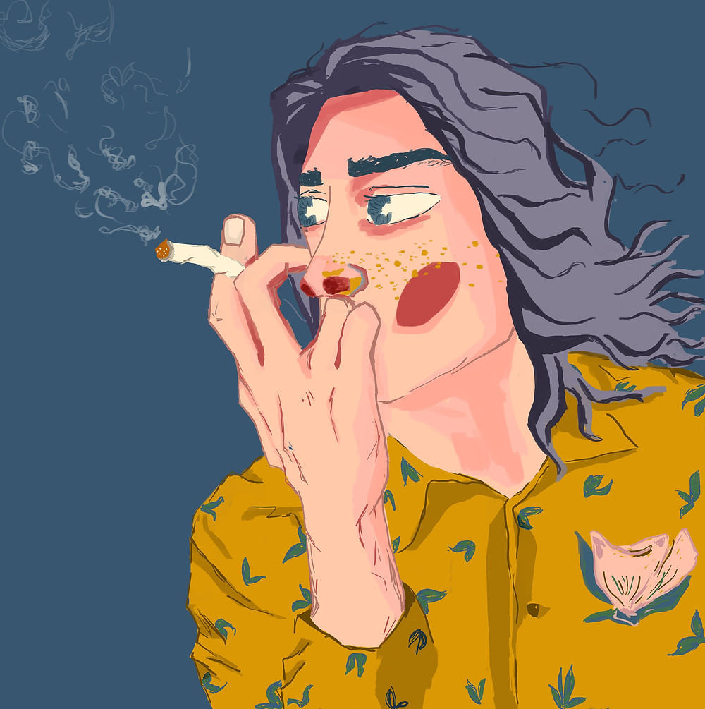 Sad boi Hours: like a good internet Samaritan, I was surfing aesthetic monochrom images of cigarette bois and movie quotes on ocean gifs. As a result, I drew this character with the intention of doing more of his profile.
