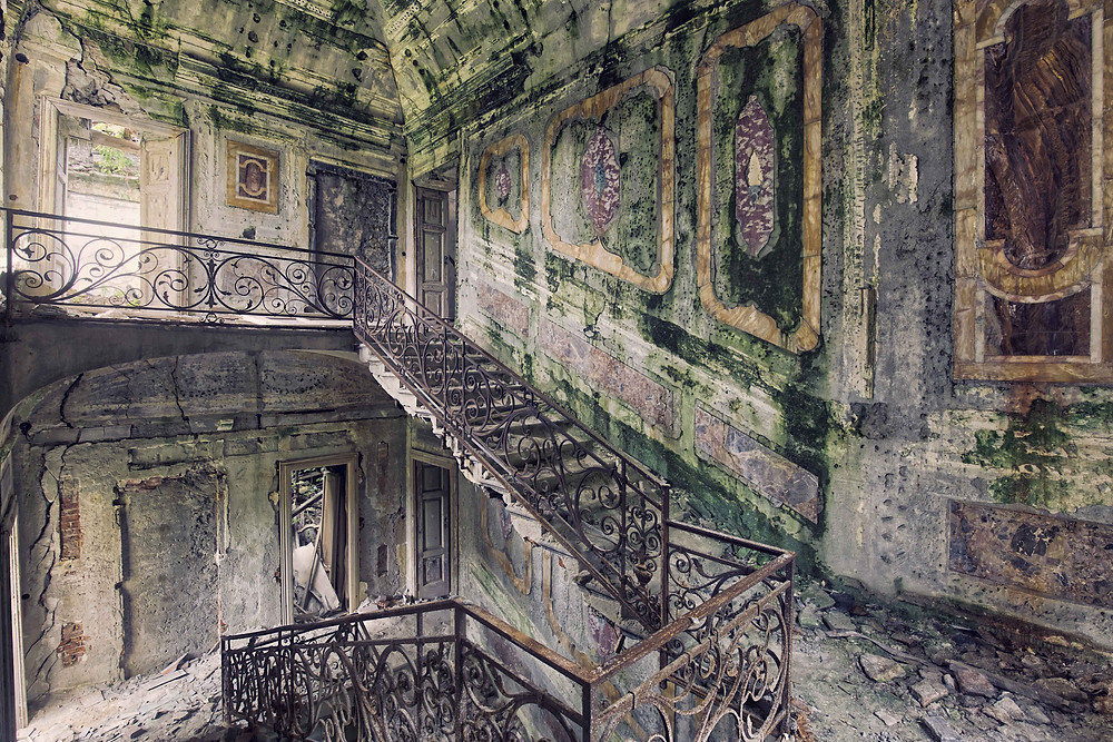 Astray: Staircase of a since the early 90s abandoned villa in Italy. The villa is about to collapse but still retains the charm of its glory days.