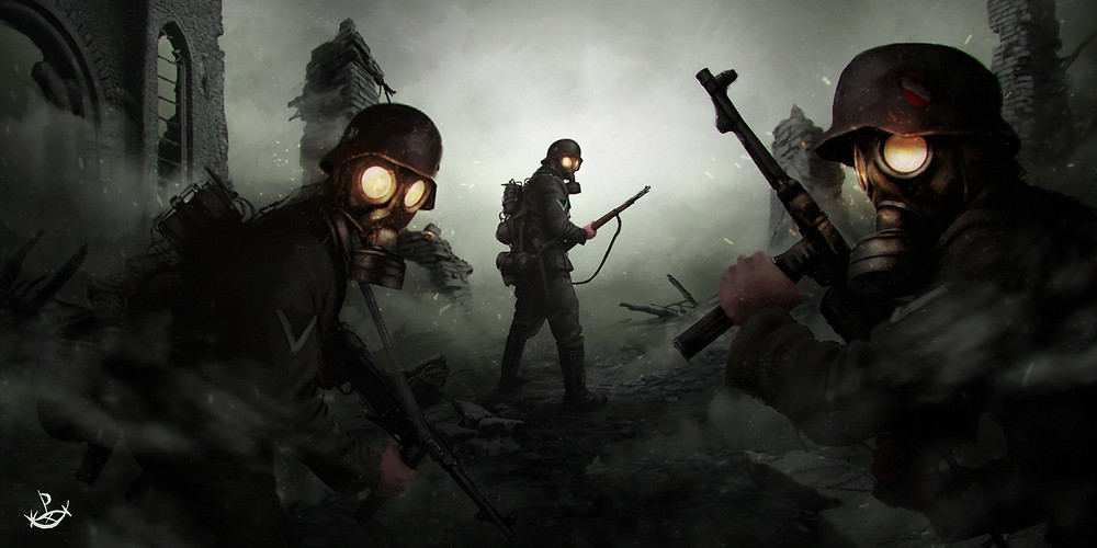 """Acid spiders"", set on some battlefield of World War II, this illustration was created under a slight dieselpunk influence."