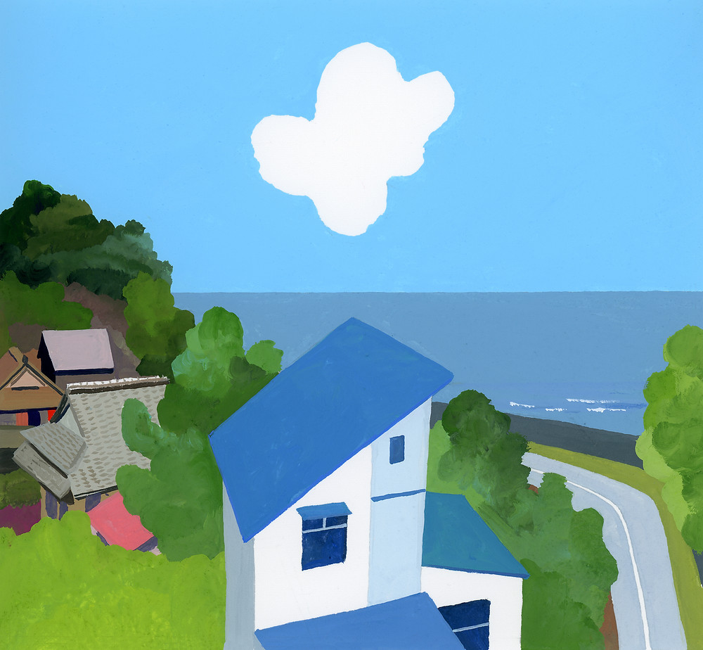 Illustration for a magazine essay. It is an essay about Natsu Miyashita's daily life. So I draw the landscape, nature, and the keeping dog around her where she lives.