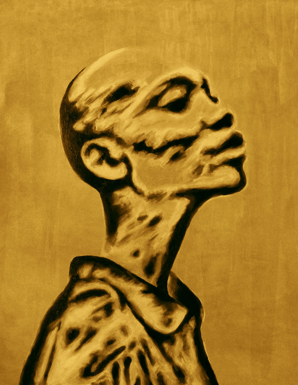 "African Soul Vintage Fine Art Print/ Size: 60 cm x 78 cm/ Year 2019 This fine art print is based on a painting by Amber Rose Olivier entitled ""African Soul 01."" African Soul is an expressionistic Portrait. This unique piece shows off the rather beautiful features of an African woman portrayed in an elegant yet airy manner. The background is an old wall somewhere in the streets of her city that has aged delicately over time. This fine art print is a limited edition run of only 30 prints and 1 of 2 colour editions."