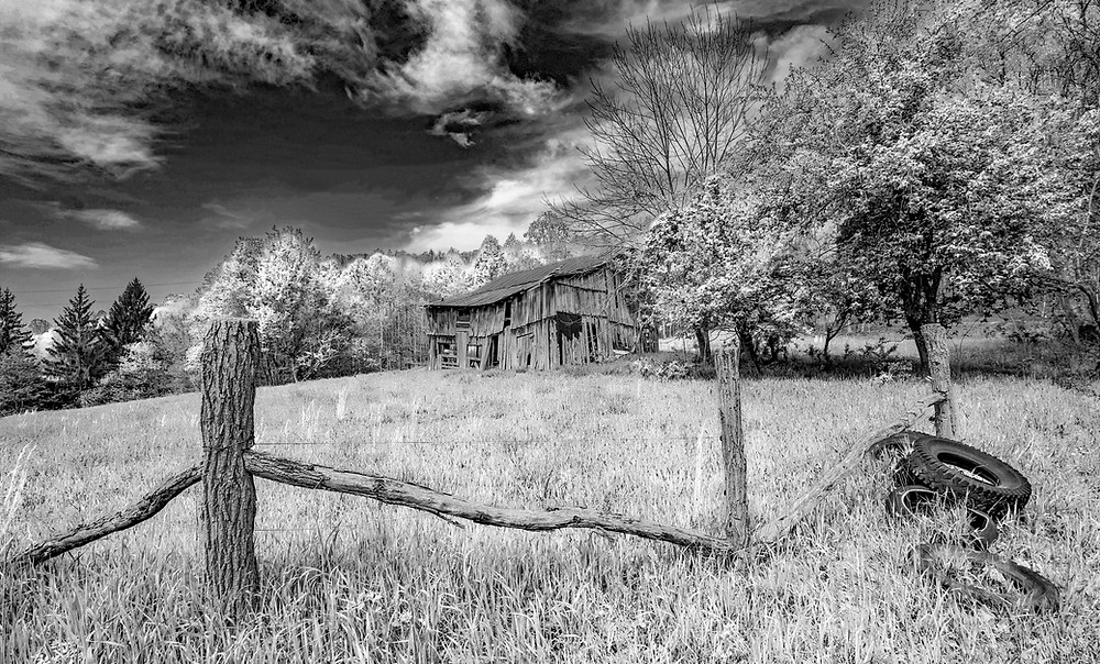 Keeney Mountain Barn_BW - I often take rural roads that I have never driven before.  One never knows what they will find.  This abandoned barn in Summers County, West Virginia is just an example.
