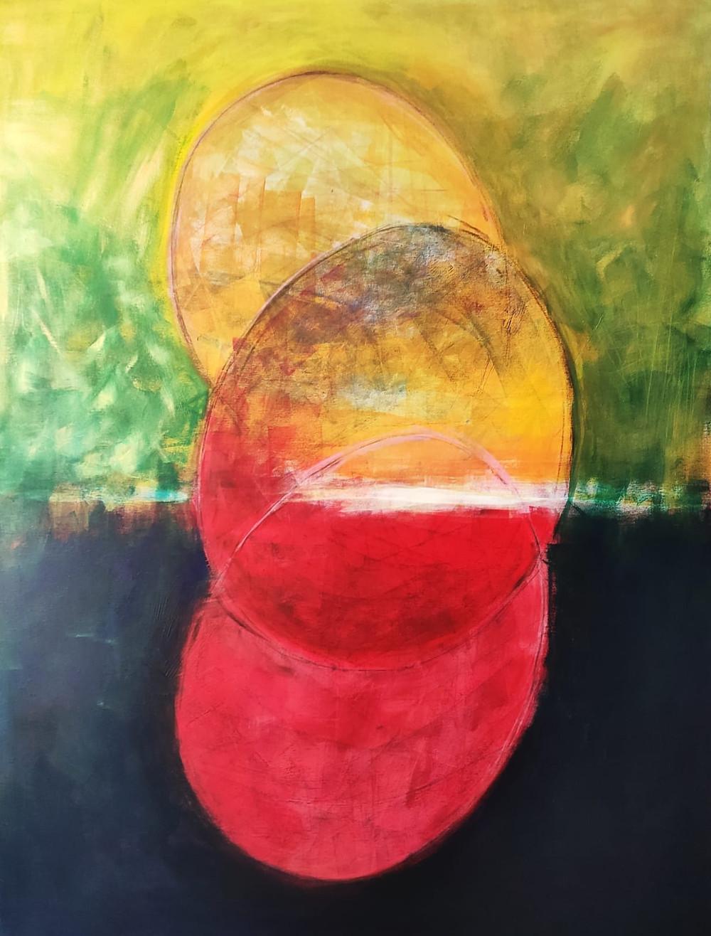 Eclipse  Mixmedia on canvas 100x130  cm 2020
