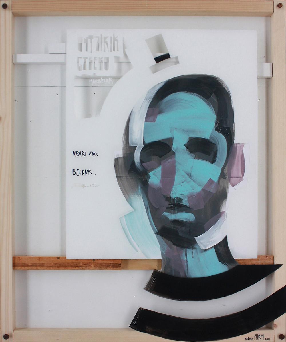 Untzirik gabeko marinelak, urari zion beldur / The sailor with no boat was afraid of the sea. Acrylic on wood, paper and methacrylate composition. 73x61cm 2011