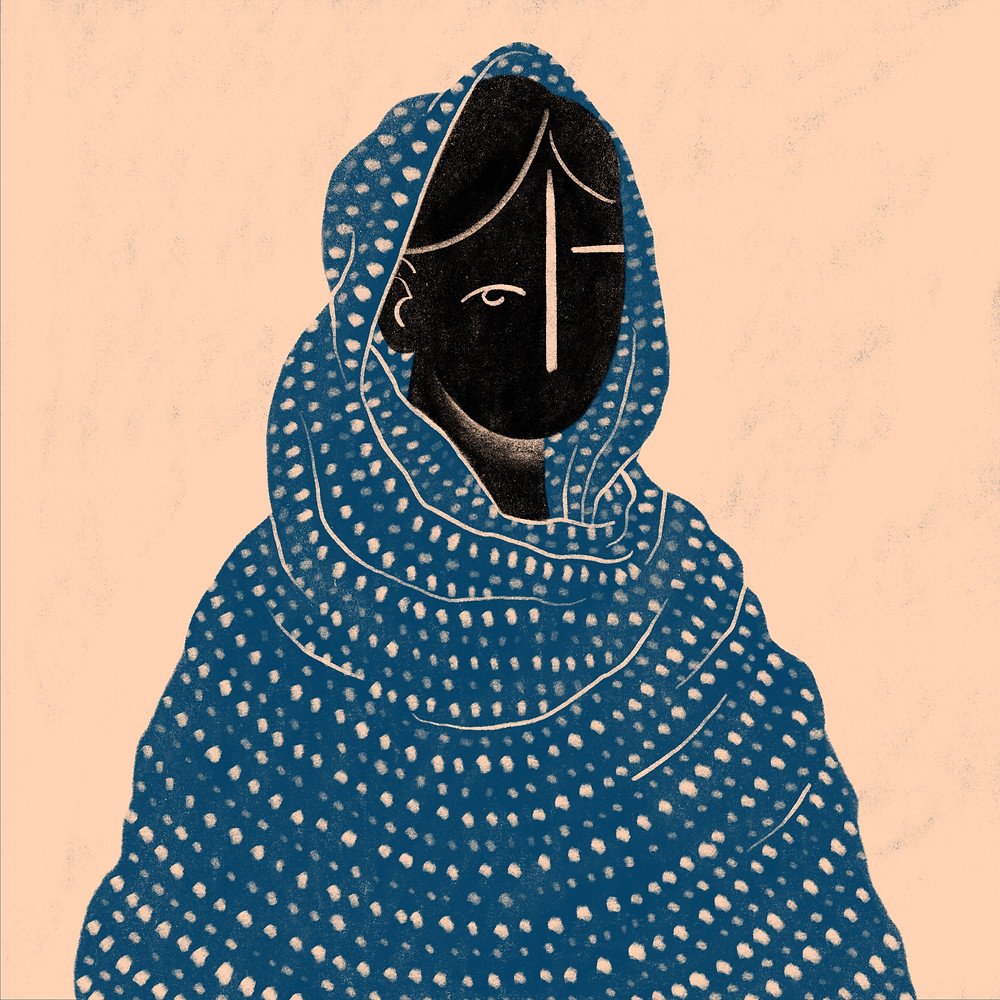 """This illustration was also part of the series depicting feminists. This piece is an illustration of Malala Yousafzai, and is based on a quote by her that says """"I raise up my voice - not so I can shout but so that those without a voice can be heard. We cannot succeed when half of us are held back."""""""