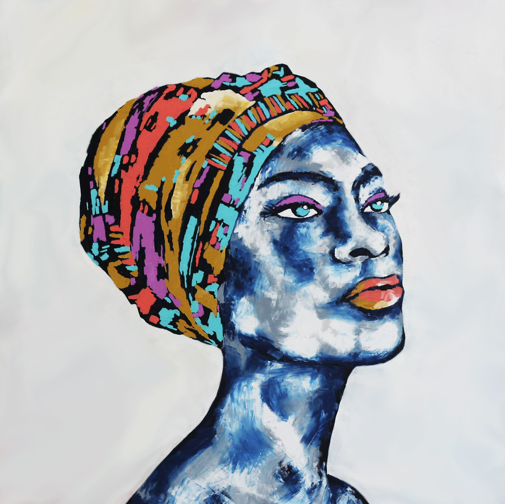 "African Pop Portrait 01 Oil painting on canvas/ Size: 90 cm x 90 cm x 4 cm/ Year 2019 This piece was inspired by the Duka. South African women commonly are known to wear head wraps rather known as a ""Duka"" in South Africa. They are worn when sleeping to protect their hair. Dukas with more elaborate designs are worn to important social and cultures events."