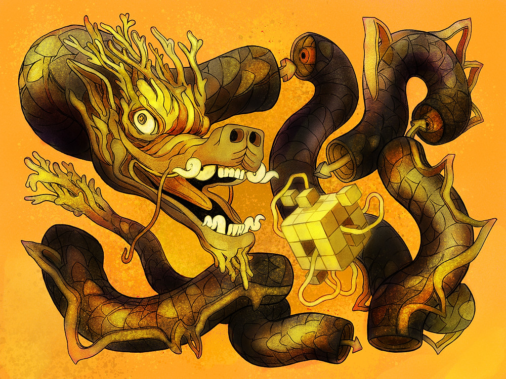Golden Dragon Cubed: Illustration series influenced by the Legend of Zelda.