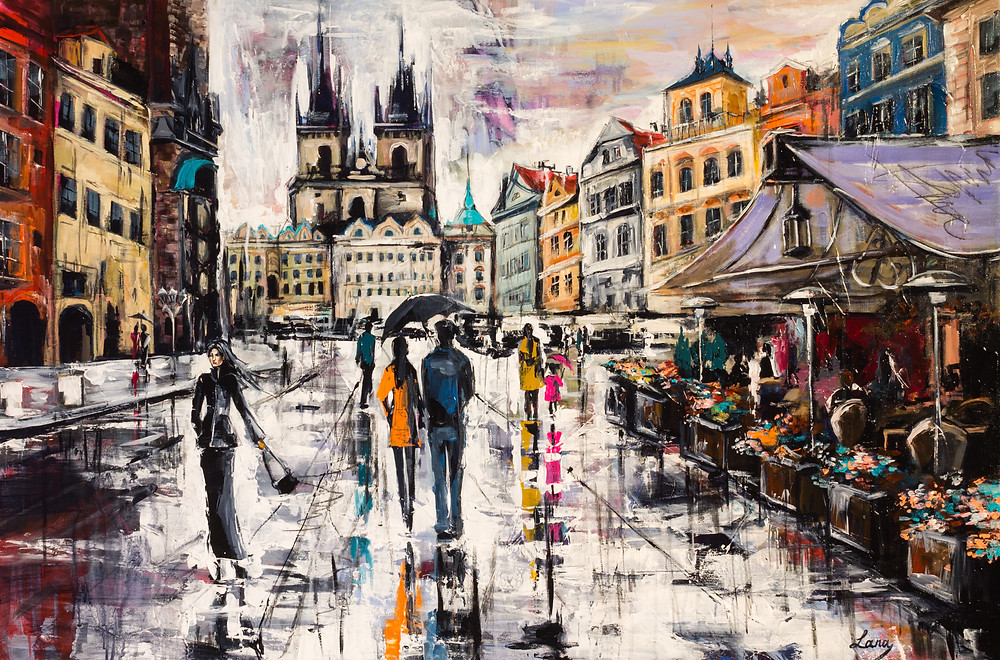 """Prague. Staromestska"", palette knife and brush, acrylic on canvas, 120x80 cm I moved to this city not a long time ago but already fell in love with it's beauty and mystical historical places. Every minute I walk its streets and squares it inspires me. But the rain in Prague is something truly special, it's the most impossible thing to resist painting."