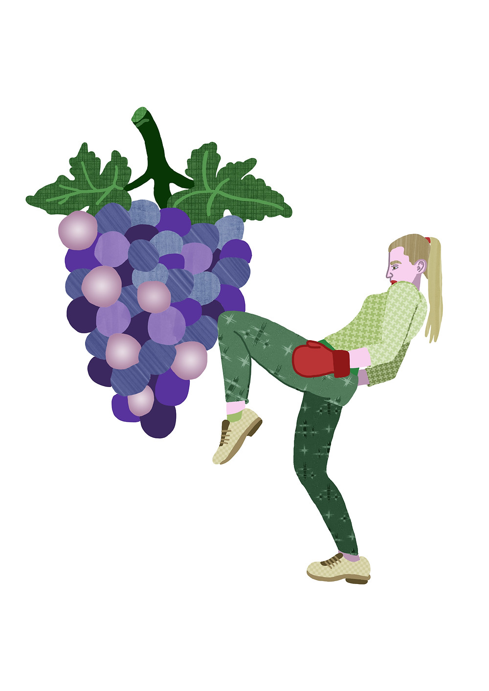 I've made a series of illustrations called 'Get Fit With Fruit' and this grape boxer is one of them