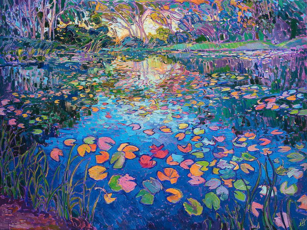 Lilies on the Lake - This painting captures the beautiful colors that everyone loves in water lilies. The inspiration from this piece came from the water lilies pond at the Norton Simon museum in Pasadena. The impressionistic brush strokes are loose and alive with color and texture.
