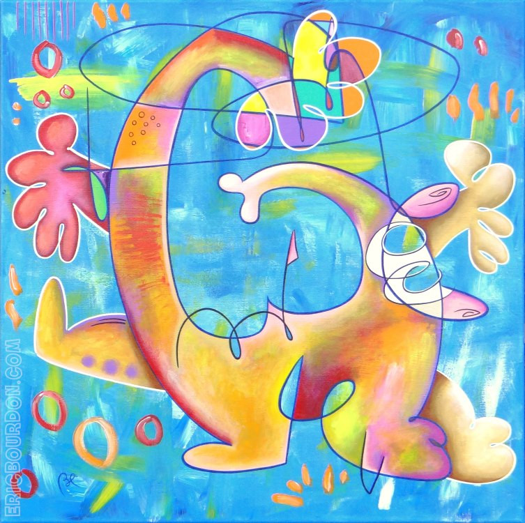 BURNOUT - size : 31.50 x 31.50'' / 80 x 80 cm - Acrylic painting on linen canvas 2019