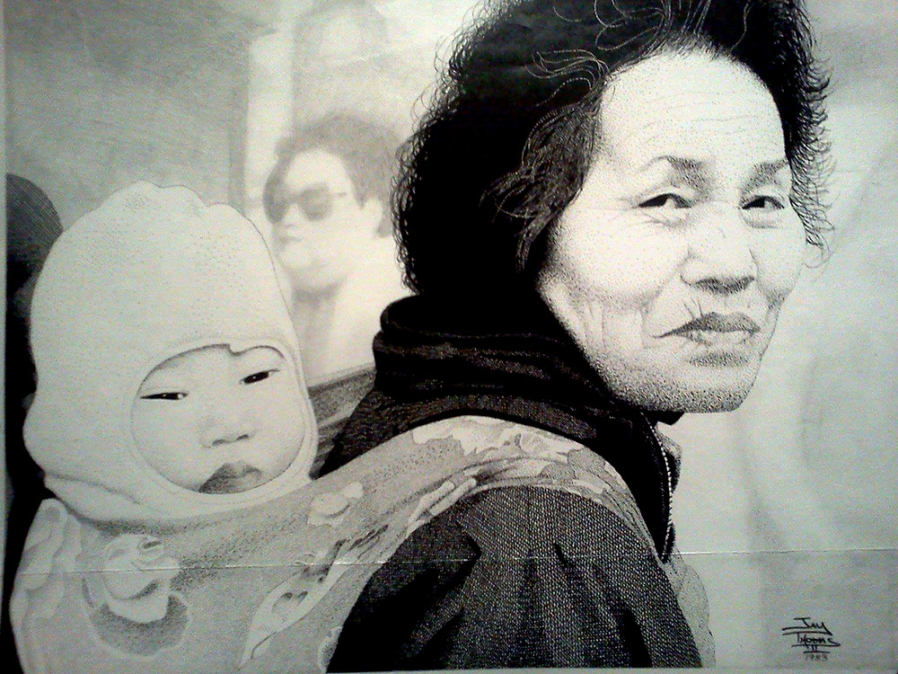 """""""Woman & Child"""" - 11x14 Pen & Ink Pointillism art. This is one of my early pointillism (stipling) pieces, depicting a woman carrying possibly her grandchild."""