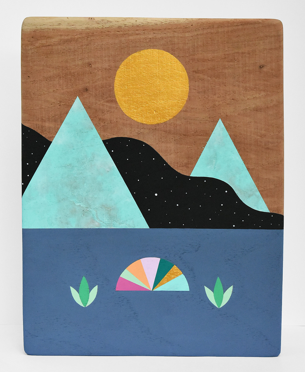 "Moving mountains # 4  9"" x 12""   Acrylic on pecan wood  2019"