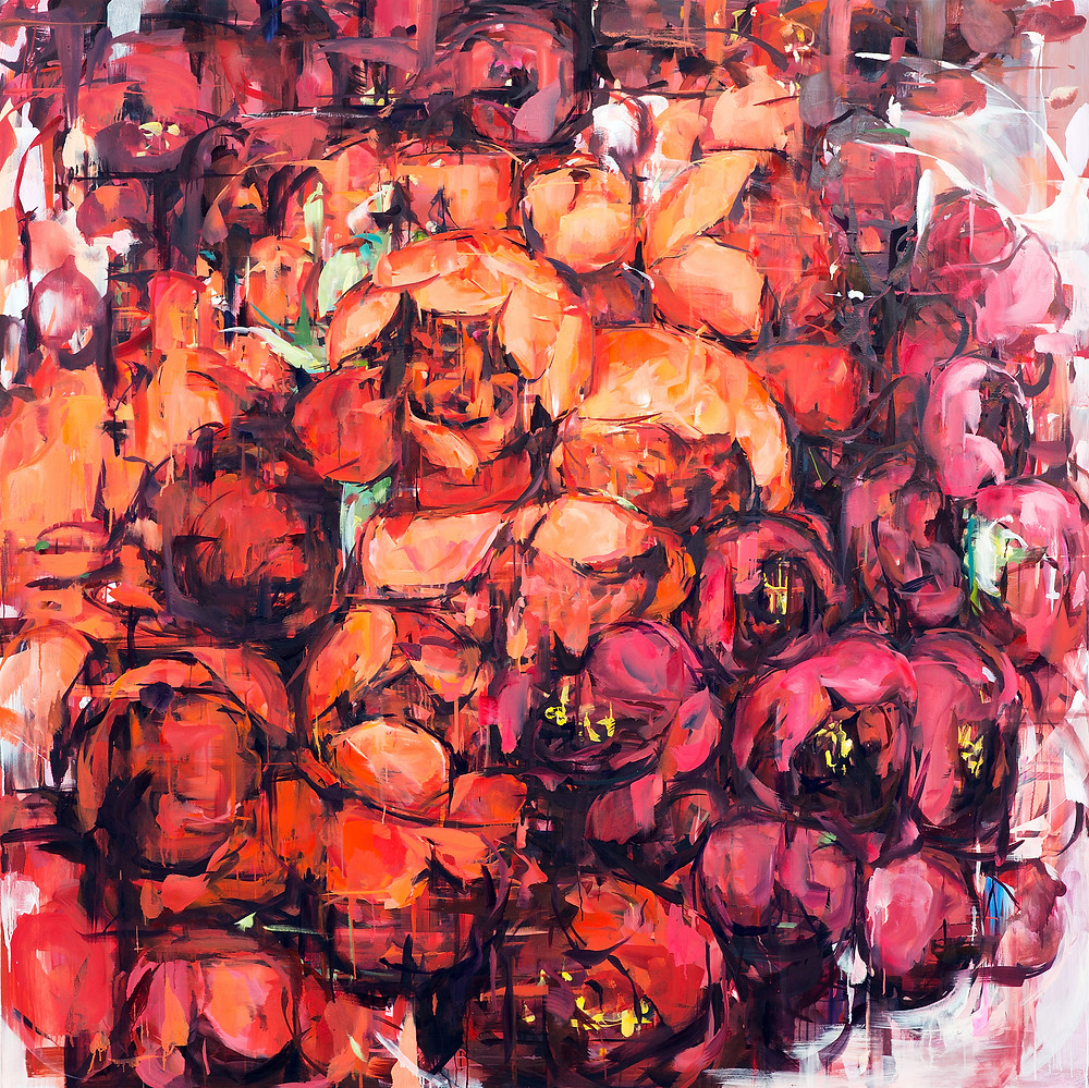 Flower Dreams, oil on canvas, 76x76inches, 2019