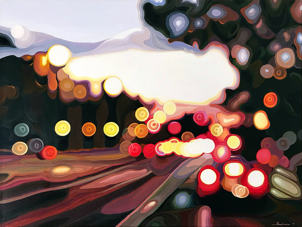 """NOCTURNE №18 / EMBARCADERO, SUNSET. Acrylic on canvas, 40"""" x 30""""."""
