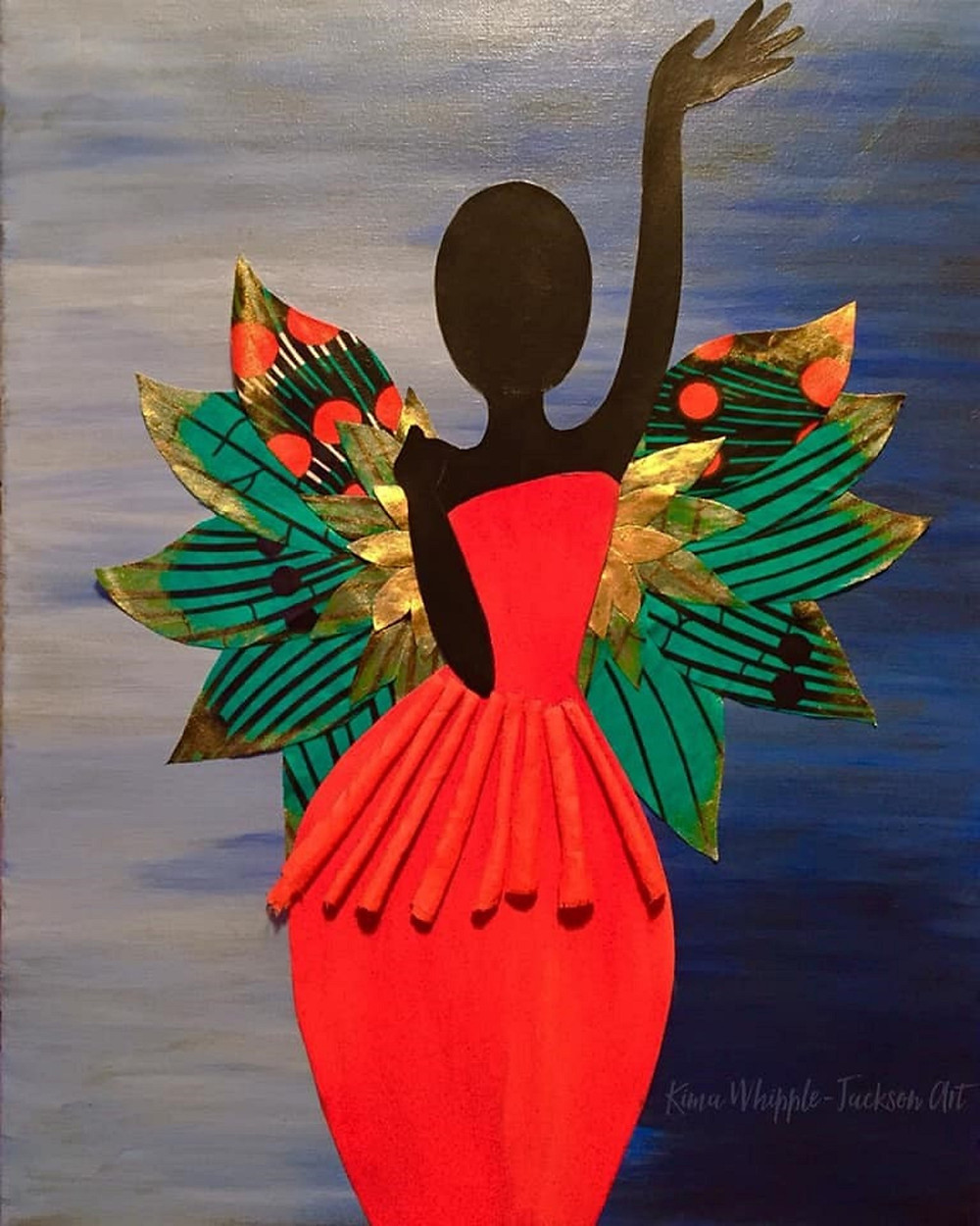 This piece represents freedom, along with complete and absolute resolve in not caring what anyone thinks. I wanted to create something that exemplified the joy I felt when I finally began to express myself freely. I enjoy simple figure drawings and bright, bold color. Again, beautiful African Ankara print fabric was used for the wings in the original mixed media painting.