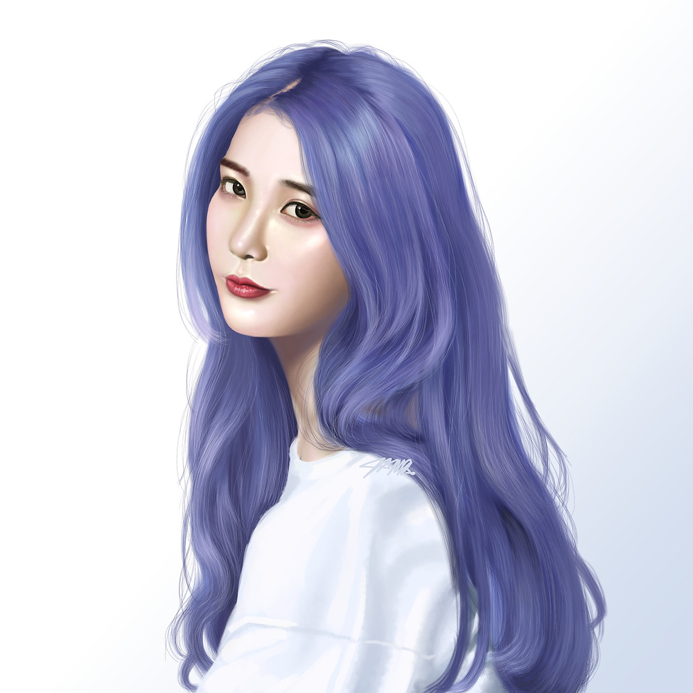 IU - This is one of Korea's biggest soloists, IU. I was challenged here because I have a hard time working with the color blue but I'm glad this turned out well!