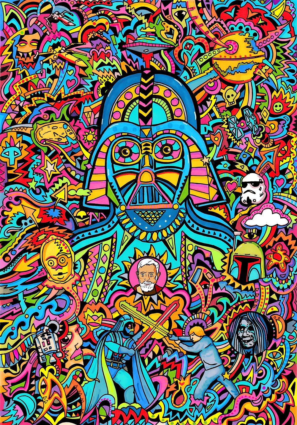 Darth Vader, pens, paper, Photoshop