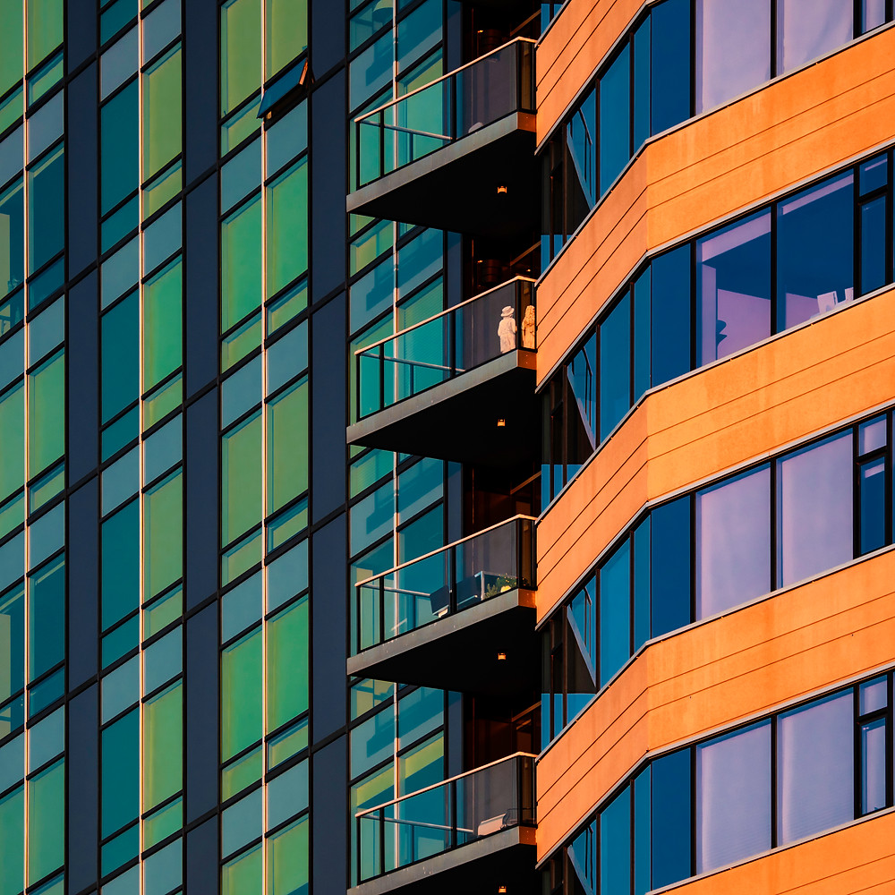 Westin Hotel in Edina Minnesota, taken near sunset. The interaction between the orange colored light and the colorful windows and facade create a pattern that drew me in the moment I saw it.