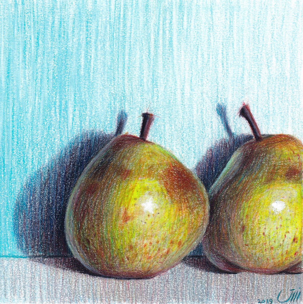 """No.168, Pears. Colored pencil & Acrylic on Paper. """"When I saw these pears I liked how they were not perfect, having lots of brown spots and deformed bodies, yet so pretty."""""""
