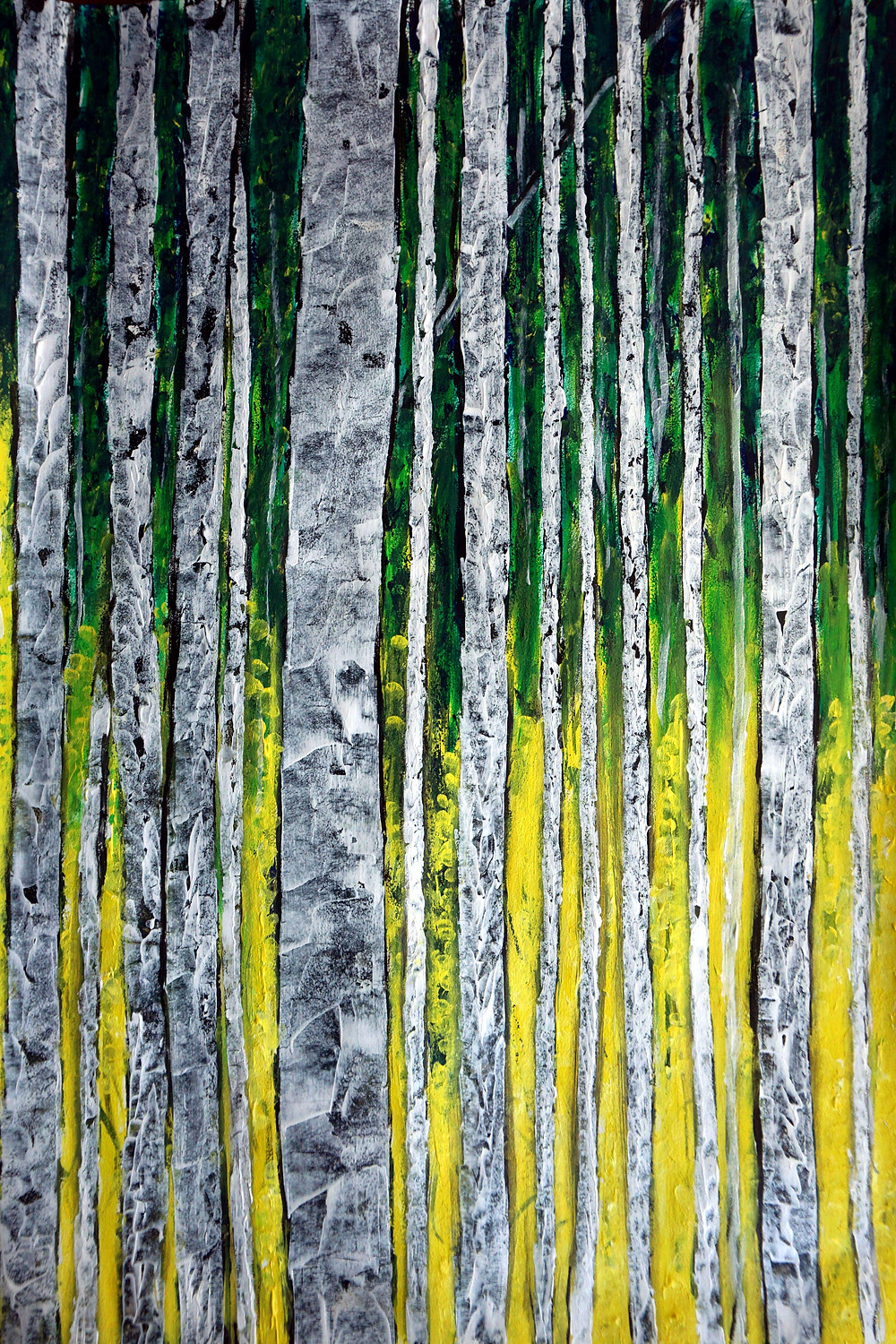 """Birch guards acrylic on paper 16"""" x 19"""", 41 x 48 cm Close-order manoeuvring."""