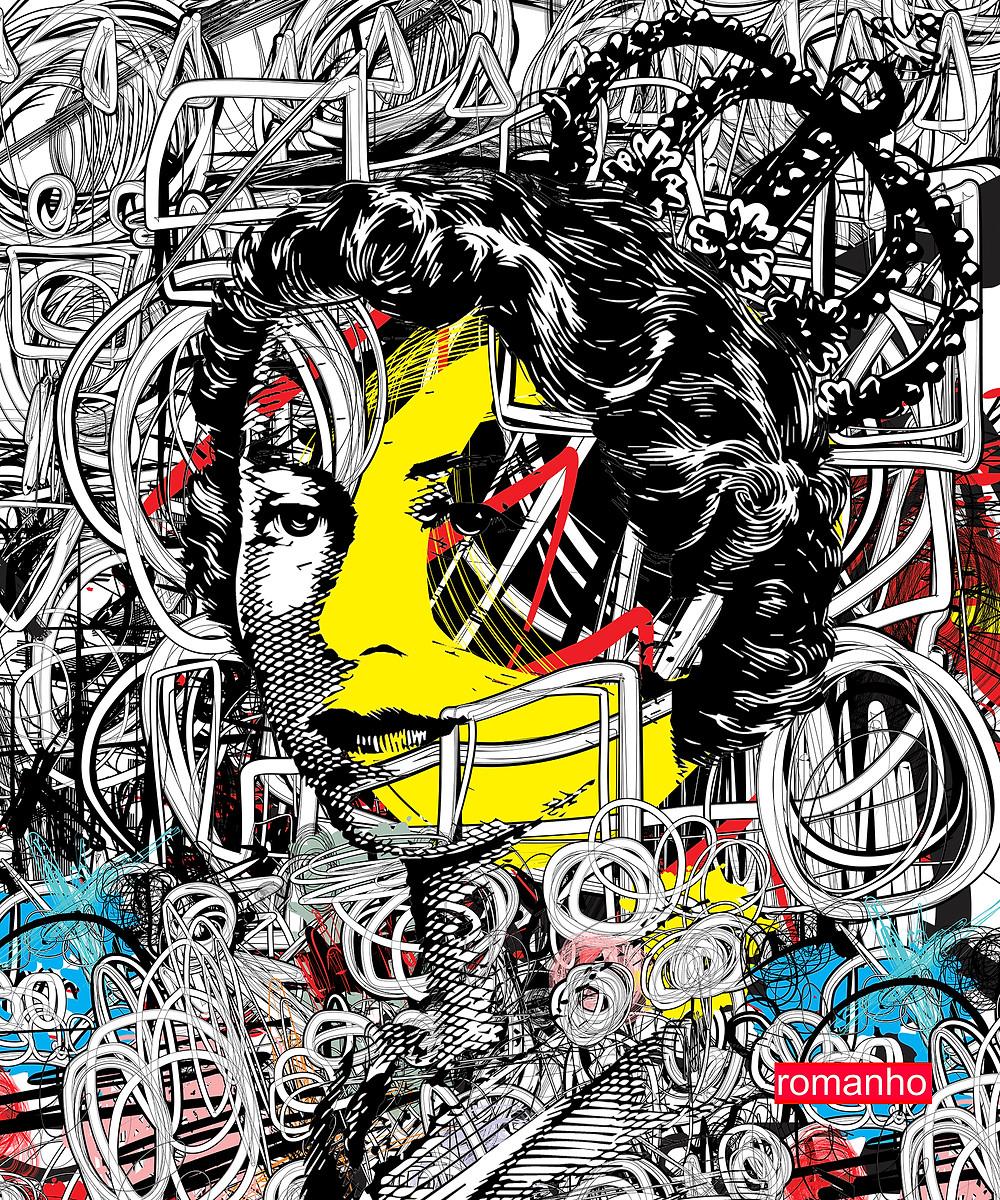 Elizabeth, Queen of England Graffiti Style, Digital Design on Acrylic Fuji Panel Artist : romanho